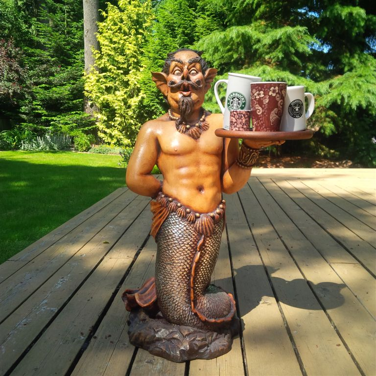 merman holding Starbucks mugs