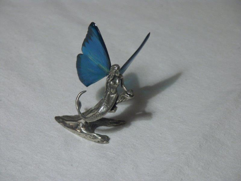 butterfly winged pewter mermaid